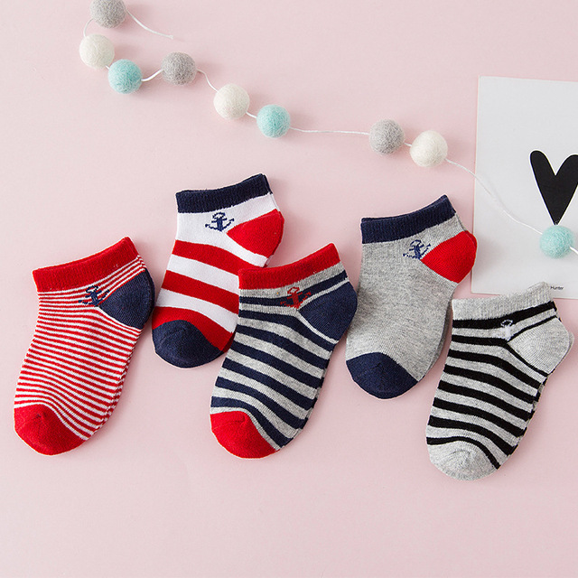5Pair/Lot Children Boys Socks Cotton Anchor Striped Kids Socks Elastic Baby Boy Casual Socks Child Sport Short Sock 1-9Y