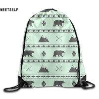 3D Print Polar Bear Pattern Shoulders Bag Women Fabric Backpack Girls Beam Port Drawstring Travel Shoes