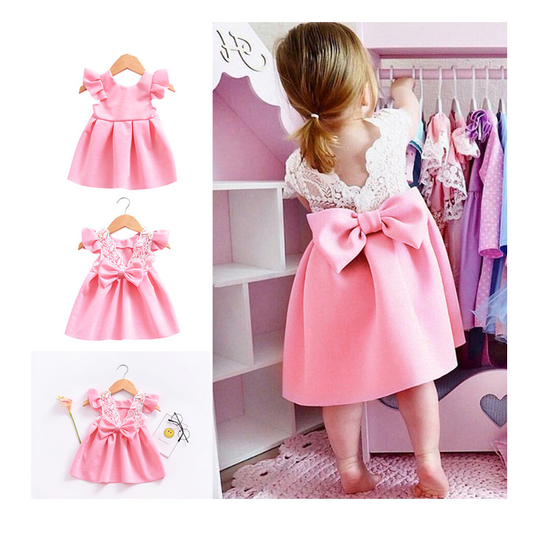 Princess Dress Birthday Vestido Summer Toddler Girl Lace Backless Party Wedding Kids Clothes Cute Dresses Bow Ruffled Backless 2 lace panel cami backless pj set