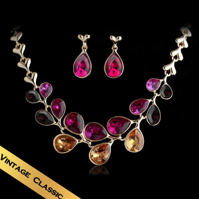 Special Necklace & Stud Earrings Jewelry Sets Crystal Handmade Vintage Western Style Free Shipping Wedding Gift Sale TZ13A0202