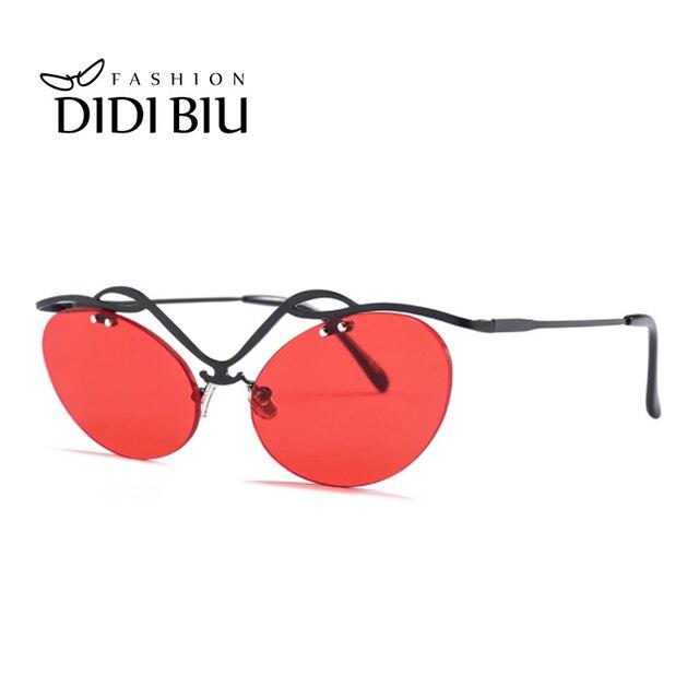 cdd46ea8da6fa Lovers Punk Sunglasses Men Hipster Geometric Rimless Sunglasses Cat Eye  Transparent Brown Lens Glasses Women Red