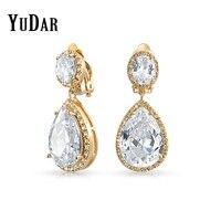 YUDAR No Ear Holes Big Teardrop Dangle Earring Clear Cubic Zircon Fashion Best Gifts Earrings Bridal