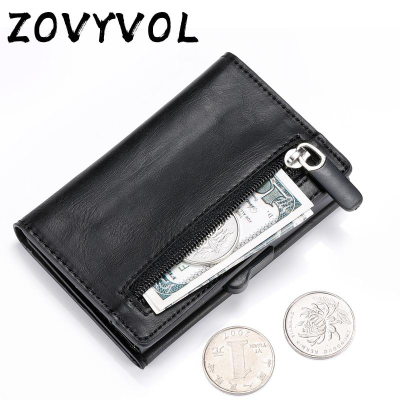 ZOVYVOL Metal Wallet Coin-Purse Holder RFID Blocking Aluminum Pop-Up Mini Automatic