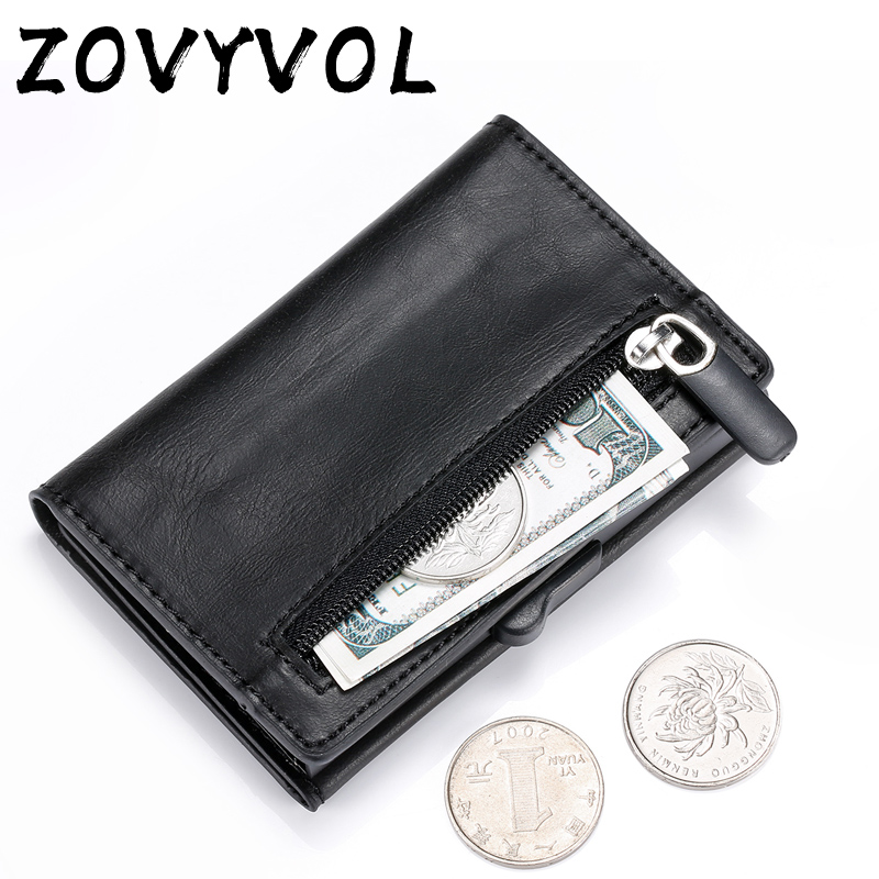 ZOVYVOL Aluminum Slim Wallet Coin Purse PU Leather Holder RFID Blocking Mini Metal Wallet Automatic Pop Up ID Credit Card Holder