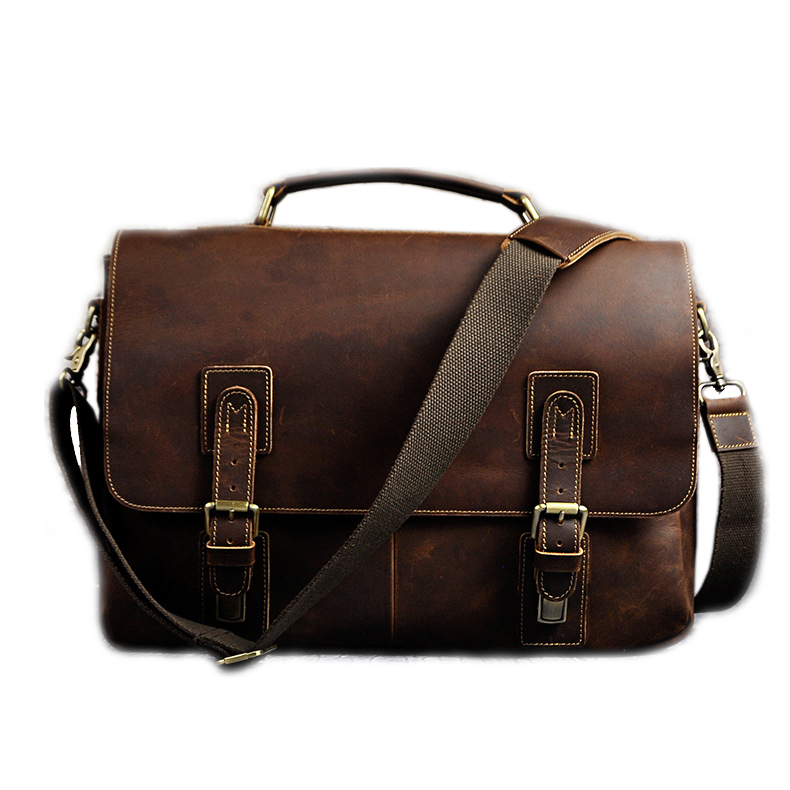 New Foreign Trade Import Men Retro Crazy Horse Leather Bags Men Business Briefcase 15 Inches Big Capacity Laptop Bags