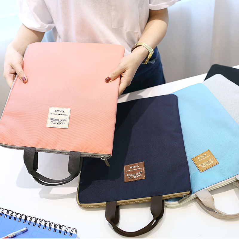 Fashion Creative Tote Simple Candy Color Colorful A4 Student Textbook Data File Pocket Portable Business Travel Document Bag