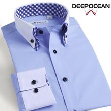 Новый Для мужчин рубашка брендовая одежда хлопковое Бизнес Рубашки домашние муж. Camiseta Masculina человек с длинным рукавом Костюмы плюс Размеры Сорочки выходные для мужчин