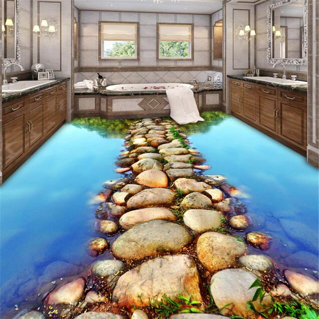 Beibehang Tapete 3d Fluss Stein Platten Gehweg Bad 3D Boden Malerei Moderne  Benutzerdefinierte Familie Selbst