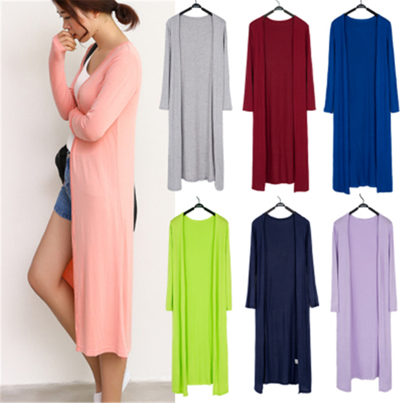 Korean 2019 Women's Casual Long Modal Cotton Sweater Cardigan Soft Comfortable Strong Simple Solid Free Size Loose Thin Cardigan 2