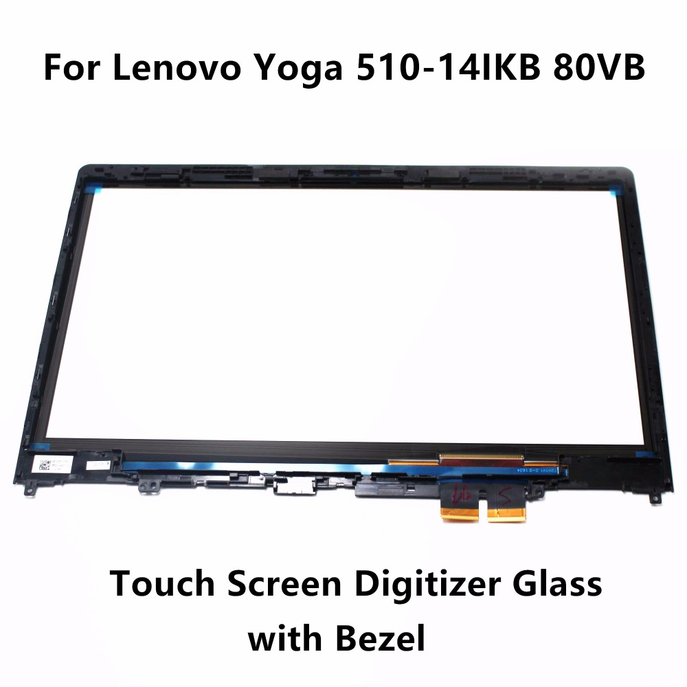 14 Touch Panel Glass Digitizer + FHD IPS LCD Screen Display Assembly+Bezel for Lenovo Yoga 510-14IKB 80VB 80VB0081GE 80VB0073IX grassroot 14 0 inch lcd touch screen digitizer bezel display assembly for lenove yoga 460 fhd ips lcd screen with frame
