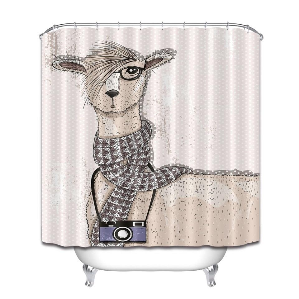 Cute Hipster Lama Camera Bathroom Waterproof Fabric Shower Curtain Set Hooks