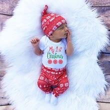 Рождество для новорожденных, для маленьких девочек и мальчиков в виде снежинок Комбинезон, штаны, леггинсы Шапка, комплект из 3 предметов для малышей, Bebek Костюмы в комплекте, для детей 0-18 м