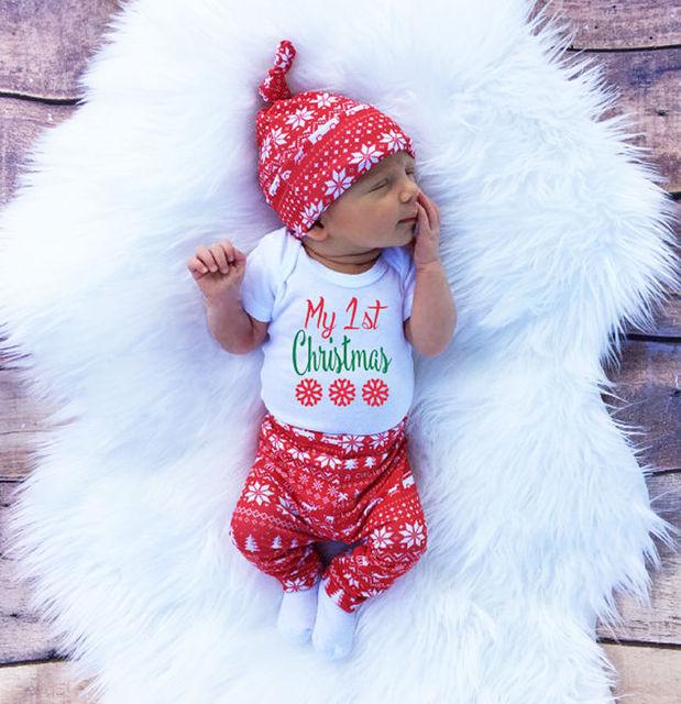 05b03ba626371 US $5.92 14% OFF|2016 Christmas Newborn Baby Girl Boy Snowflake Romper  Pants Leggings Hat 3pcs Outfits Infant Bebek Clothing Set 0 18M-in Clothing  ...