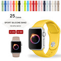 2016 New Yellow Silicone Sport Strap for Apple Watch Band Silicone Band With Connector Adapter 42mm 38mm