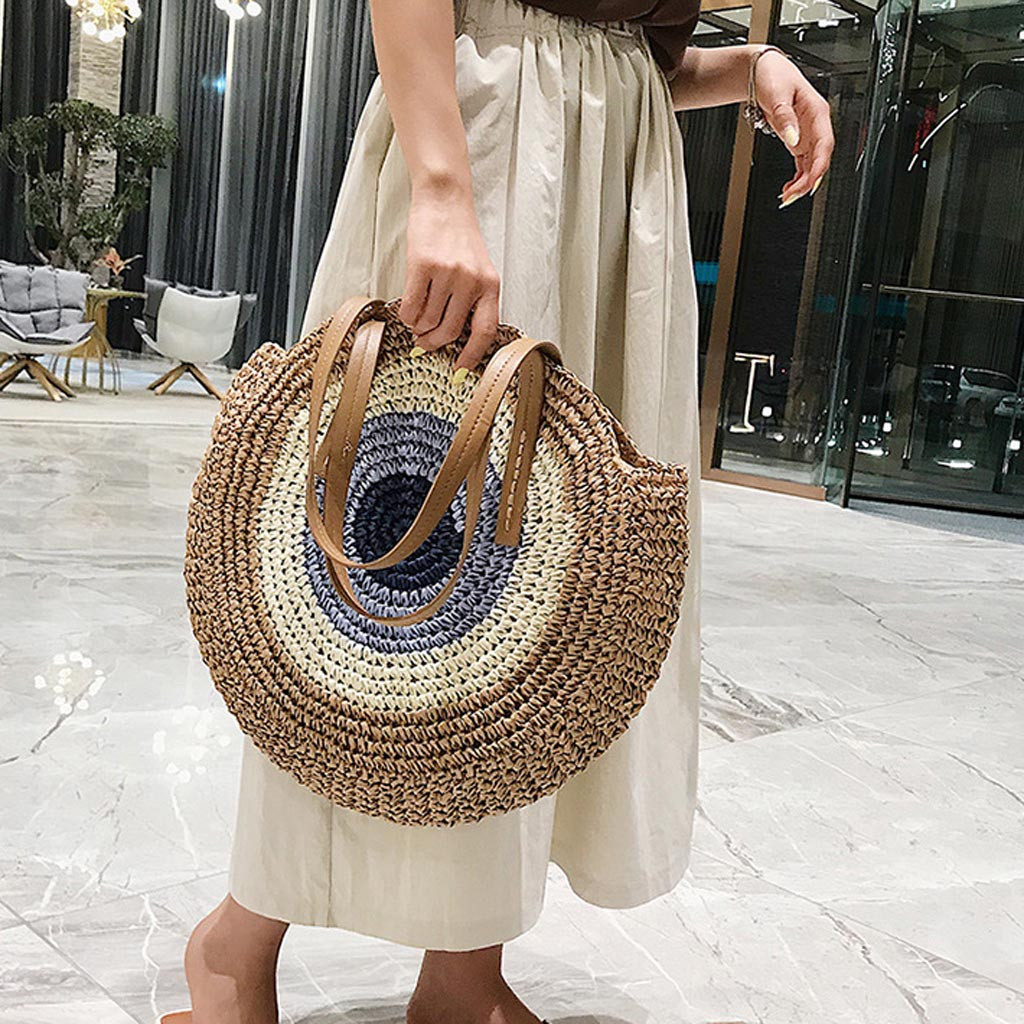 2019 Round Straw Bags Women Summer Rattan Bag Handmade Woven Beach Cross Body Bag Circle Bohemia Handbag Bali bolso paja(China)
