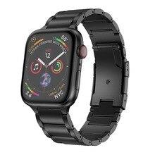 Correa de aleación de titanio para Apple Watch, banda de reloj de pulsera de Metal de 38mm y 42mm, pulsera de tres eslabones para Apple Watch Series 1 2 3 4 5