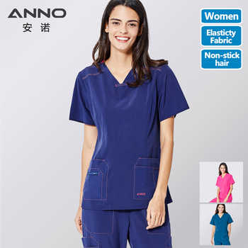 ANNO No stick hair Pet Hospital Uniforms Women Nurse Uniform Slim Fit Medical Scrubs Set Surgery Clothing Elastic Suit - DISCOUNT ITEM  10% OFF All Category