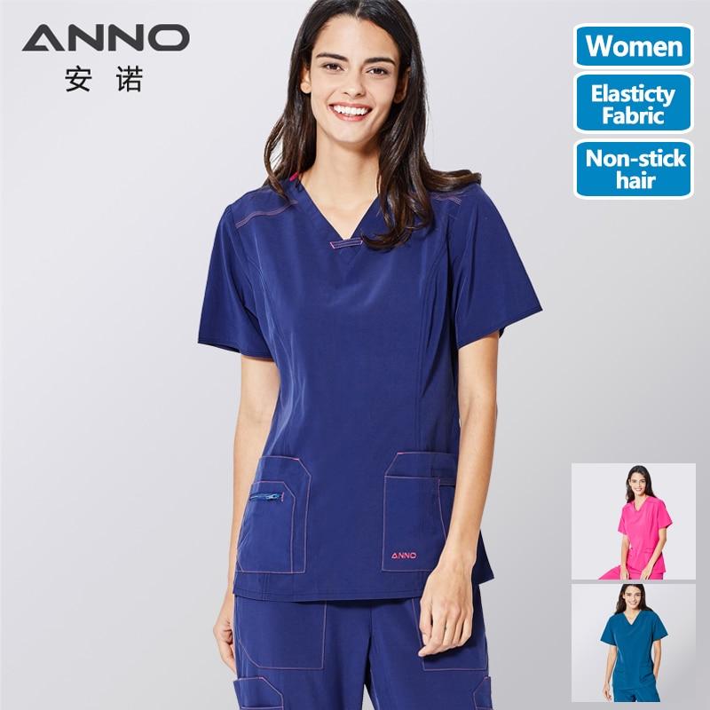 ANNO Non-stick Hair Pet Hospital Uniforms Women Nurse Uniform Slim Fit Medical Scrubs Set Surgery Clothing Elastic Suit