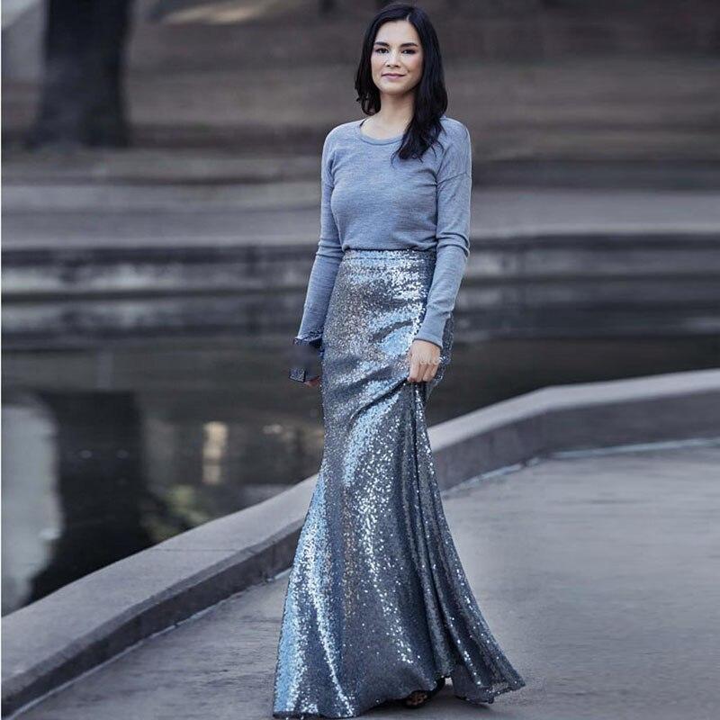 c7b03286fb Glitter Silver Sequin Maxi Skirt for Women High Waist Mermaid ...