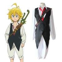 Cosplay de Anime The Seven Morty Sins, disfraz de Cosplay de Meliodas, el dragón del pecado de ira, conjunto completo de uniformes (Camisa + chaleco + Pantalones + corbata)