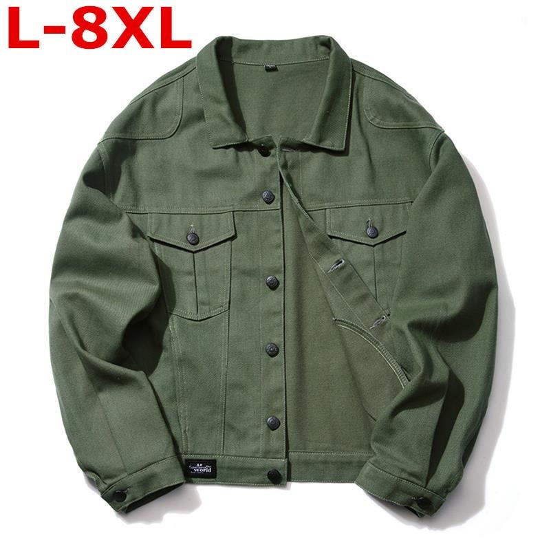 plus size spring autumn 8XL 7XL 6XL5XL 2018 new yards men coat men's denim male increased jacket chaqueta hombre Lapel big size