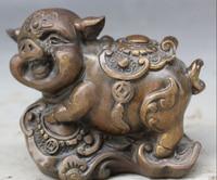 bi003226 4 Chinese Feng Shui Bronze Folk Ru Yi Zodiac Year Pig Wealth Statue Sculpture