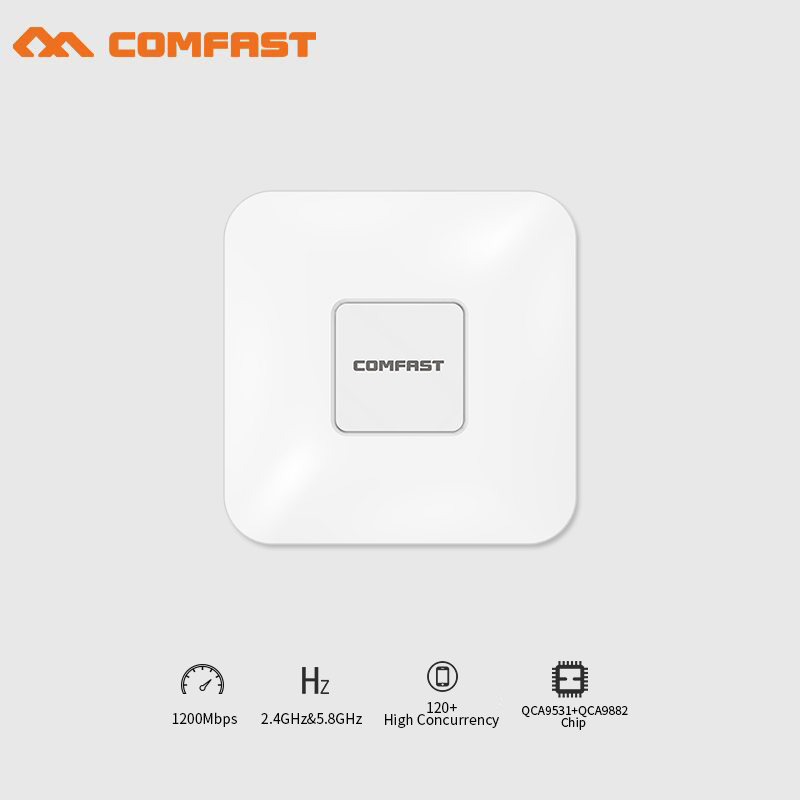COMFAST wireless indoor Ap 1200Mbps gigabit Ceiling AP 802.11AC Wifi Signal Booster WIFI Expander wi-fi routers RJ45 POE adapter comfast full gigabit core gateway ac gateway controller mt7621 wifi project manager with 4 1000mbps wan lan port 880mhz cf ac200