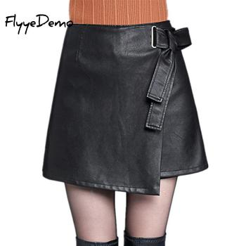 4XL Autumn Winter Women Faux Leather Skirt 2019 Black Pu Leather Belt Female OL Office Short Pantskirt Plus Size