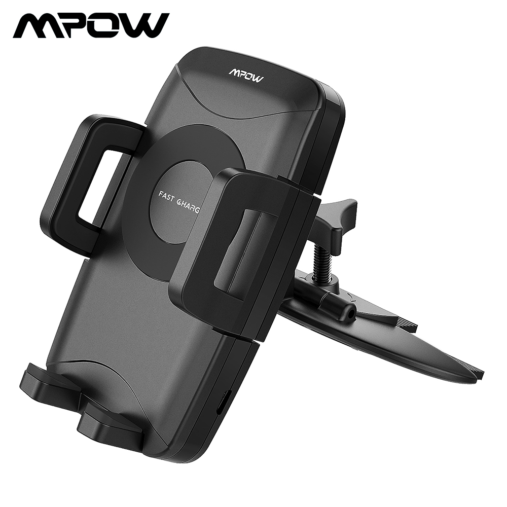Mpow CA108 Car Phone Holder CD Slot Car Mount Qi Fast Wireless Phone Holder With Charging Function For Xiaomi Smartphone iPhoneX