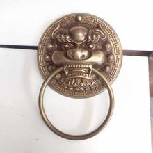 Античная латунная ручка с изображением головы льва дверной молоток
