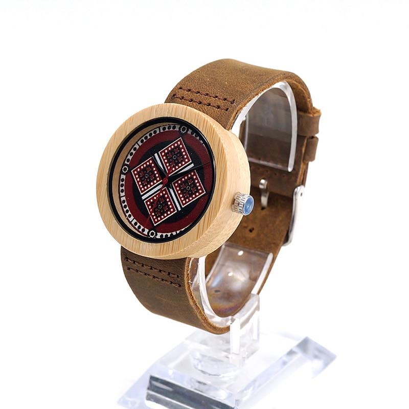ФОТО BOBOBIRD J17 Bamboo Quartz Watch UV Priting Diamond Pattern Dial Leather Band Watches  Women Kid's Relojes Mujer Accept OEM