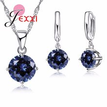 Wedding Jewelry Sets For Brides 925 Sterling Silver Austrian Crystal Women Necklaces And Earrings Set Accessory(China)