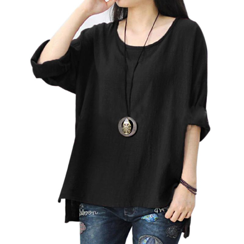 New Women O-Neck Long Sleeve Split Baggy Cotton Linen Solid Casual Loose Tops Shirt Party Blouse Shirts  Blusas Plus Size 5XL