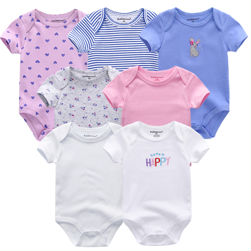 7 Pcs/lot Baby Romper Cartoon Short Sleeve Cute Boys Clothes Sets 2019 Summer Baby Girl Jumpsuit Kids Baby Outfits Clothing Hot Sale 50-70% OFF