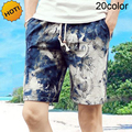 Summer Style 2016 Outdoors Beach Board Shorts Men Loose Printed Color Drawstring 100%Cotton Short Plus Size M-4XL 20 color