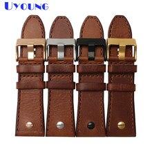 25c8aabb028c Superior de cuero genuino correa de reloj de 28mm reloj Correa banda marrón  con uñas diesel relojes banda pulsera de cuero hecha.