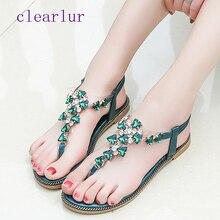 Womens Sandals Shoes Rhinestone Chain Thong Gladiator Flat Crystal Chaussure tenis C0478