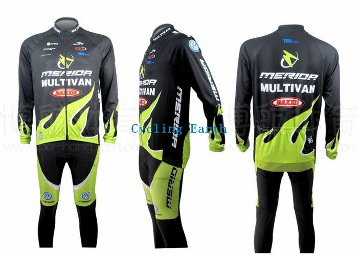 3D Silicone!!! 2010 Merida long sleeve cycling wear clothes bicycle/bike/riding jerseys+pants sets