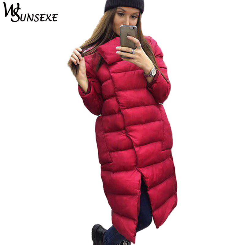 Cotton Padded Warm Long   Parka   Women Zipper Jacket Stand Collar Outerwear   Parkas   2018 Autumn Winter Casual Solid Overcoat Female