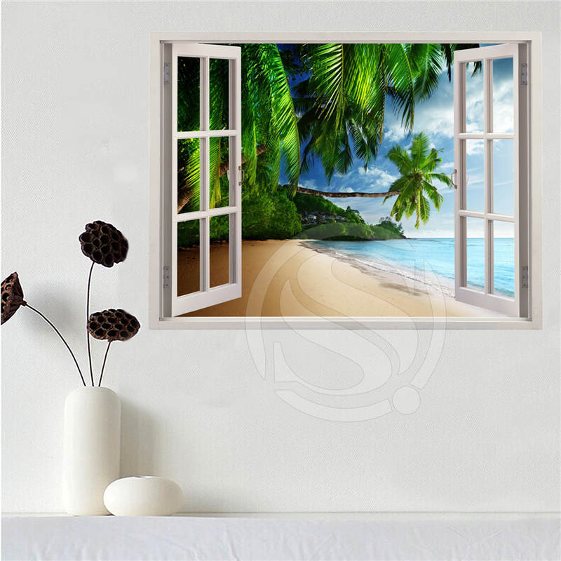 Custom canvas poster Beach of the Caribbean in the window poster cloth fabric wall poster print Silk Fabric Print SQ0611-LQ048 image