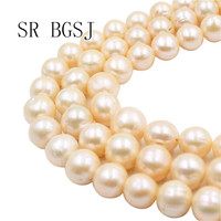 Free Shipping 11 14mm Wholesale Beads Natural Nearly Round Pink Freshwater Pearl Jewelry Making Beads Strand 15