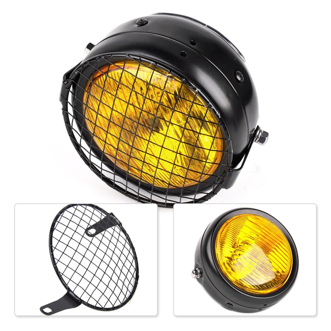 Beler rétro 12 V ambre lentille ronde lampe phare & gril couverture Vintage pour Harley Yamaha Bobber Chopper saleté moto Suzuki