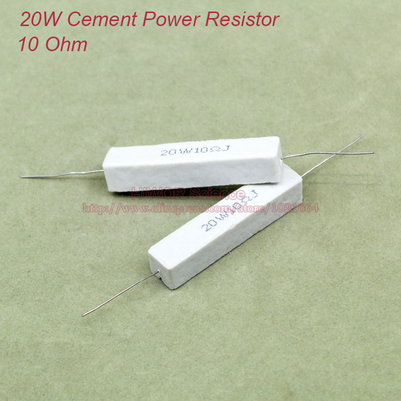 product (10pcs/lot) 20W Cement Power Resistors 20W 10 ohm Ceramic Cement Power Resistor 10ohm TOL 5%