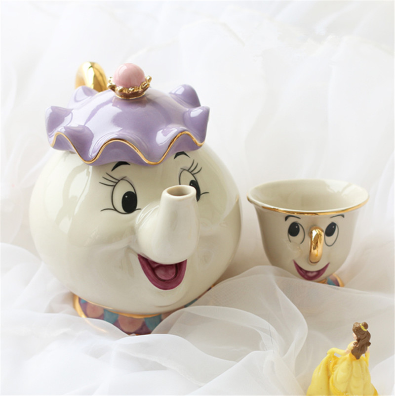Hot Sale Classical Cartoon Beauty And The Beast Teapot Mug Mrs Potts Chip cup 18K Goldplated Coffeware Sets fast shipping
