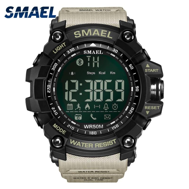 Hommes Numérique Sport Homme Horloge Smael Marque Kahki Style Bluetooth Lien led montres intelligentes Chronographe Automatique Date 2017 Chaude 1617B