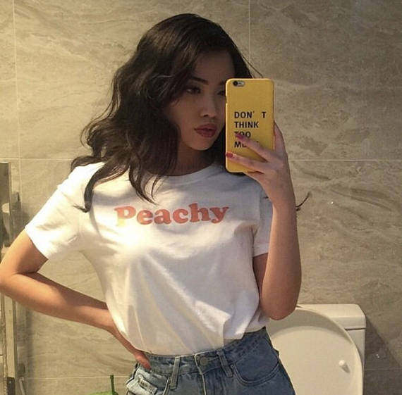 70852433e35 Peachy red Letters Print T-shirt fashion Cotton clothing tumblr t shirt for women  Tshirt