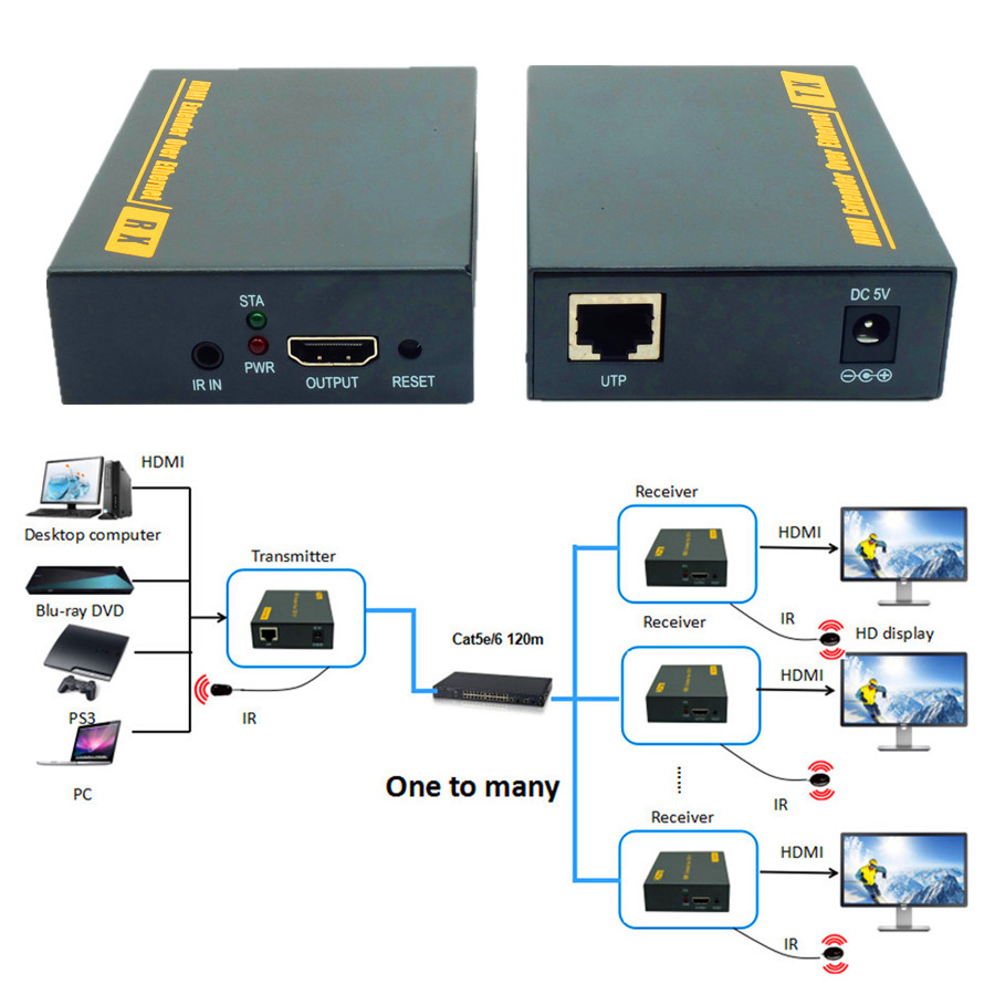 ZY-DT103 394ft/120m HDMI LAN Extender With IR 1080P UTP/STP Cat 5/5e/6  HDMI Transmitter Receiver Over TCP IP Like HDMI Splitter 80 channels hdmi to dvb t modulator hdmi extender over coaxial
