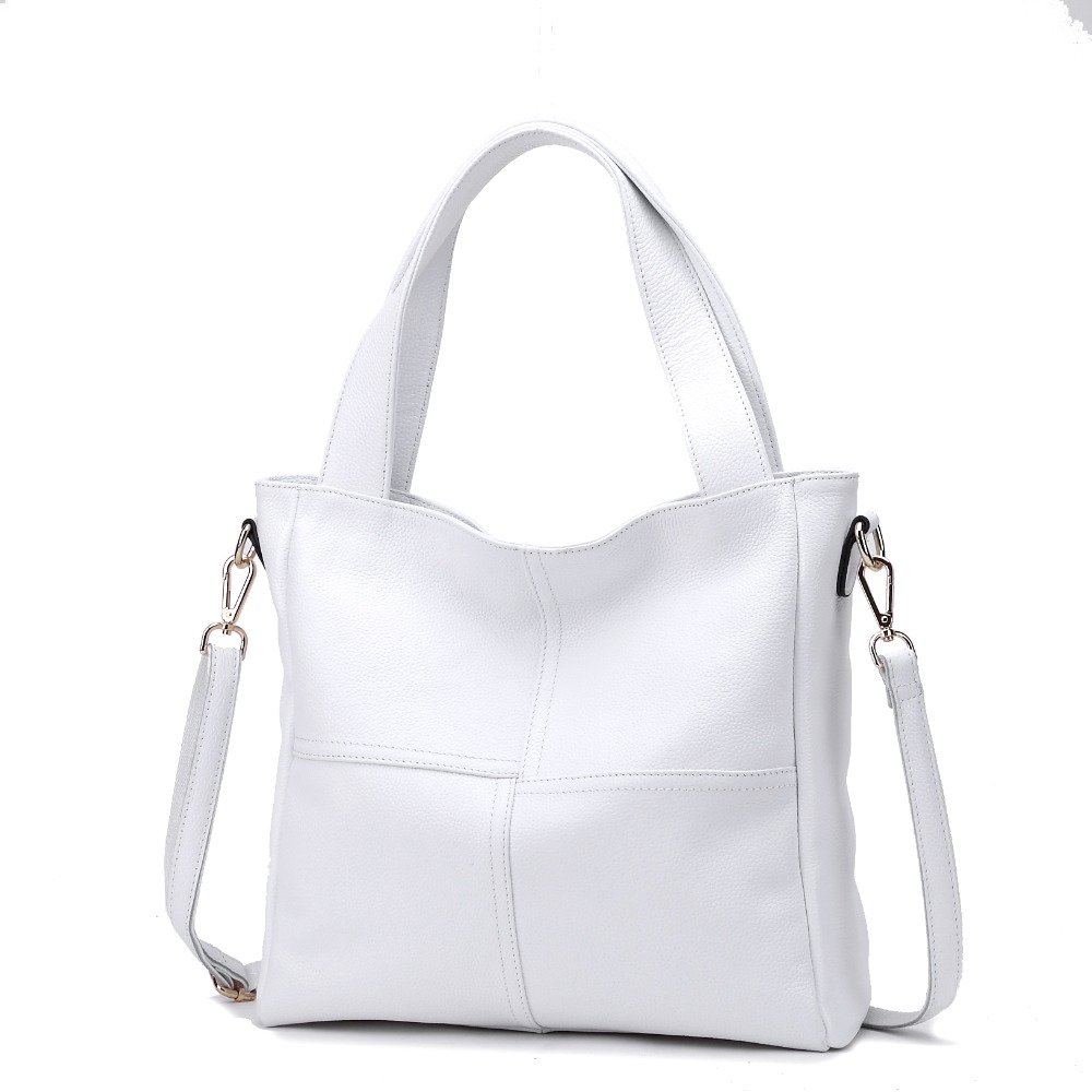 Fast Ship 100% Genuine Leather Women Shoulder Bags Ladies Shopping Handbag Female Long Handle Messenger Black White Cowhide BagFast Ship 100% Genuine Leather Women Shoulder Bags Ladies Shopping Handbag Female Long Handle Messenger Black White Cowhide Bag