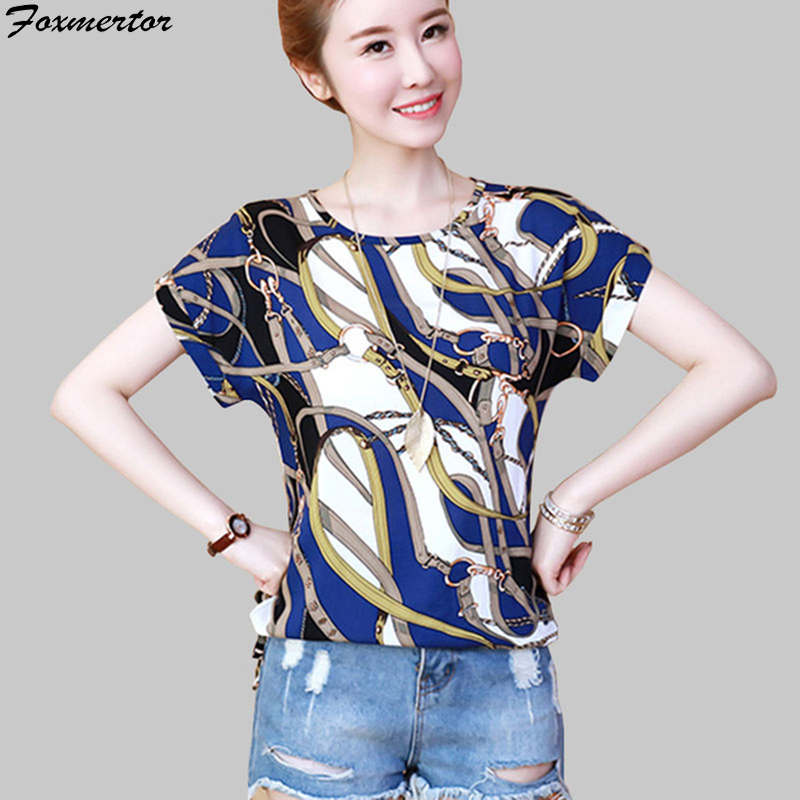 Girls Shirt 2019 Shirt Brief Sleeve Print Floral Plus Measurement Chiffon Shirt Unfastened Blusas mujer Informal Shirt Feminine Clothes High Blouses & Shirts, Low cost Blouses & Shirts, Girls...