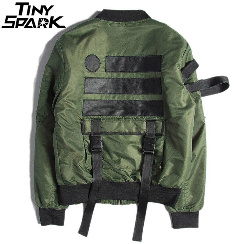 Harajuku Retro Bomber Jacket Streetwear Hip Hop Men Pilot Jacket 2018 Autumn Tatical Jackets Military Multi Pockets Army Green